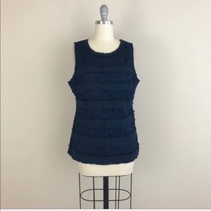 J. Crew Navy Lace Tweed Sleeveless Blouse